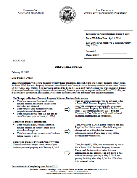 Direct Bill Notice | CCSF Office of Assessor-Recorder