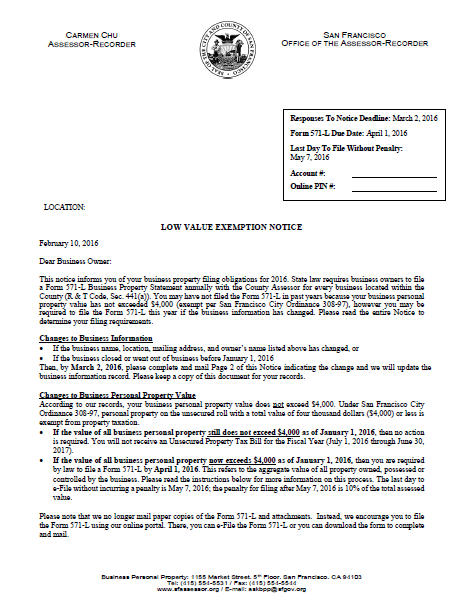 Low Value Exemption Notice | CCSF Office of Assessor-Recorder