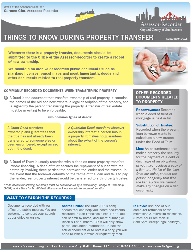 Fact Sheet -- Things To Know During Property Transfer