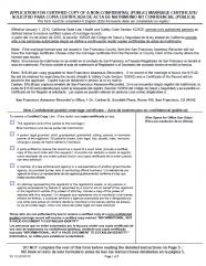 Marriage Certificate Request (Spanish Version - Solicitud para copia certificada de acta de matrimonio no confidencial)