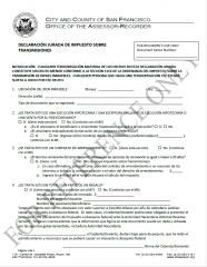 Transfer Tax Affidavit (Spanish -  declaración jurada de impuesto sobre transmisiones)